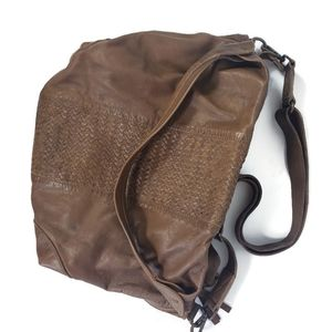Tano Cowhide Leather Whipstitch Hobo Brown Bag